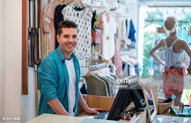 Business owner working at a clothing store