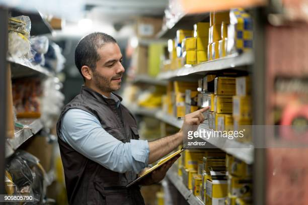 Business owner working at a hardware store