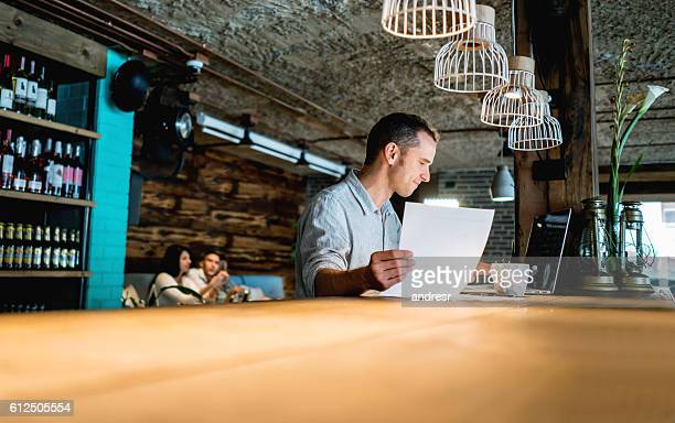 Business owner working at a restaurant