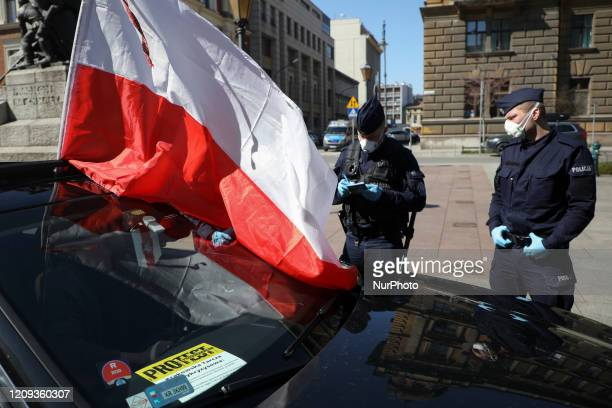Business owners attend a car protest demanding economic support for their entrepreneurs during the coronavirus crisis Krakow Poland on April 7th 2020...