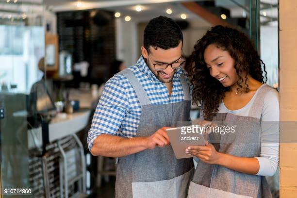 Business owners working together at a restaurant