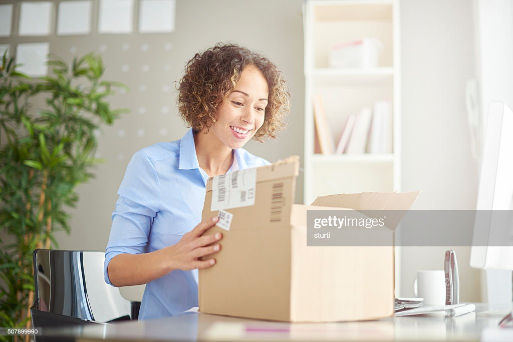 business parcel unpacking : Stock Photo