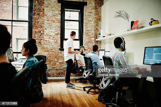 Business partners in discussion in startup office