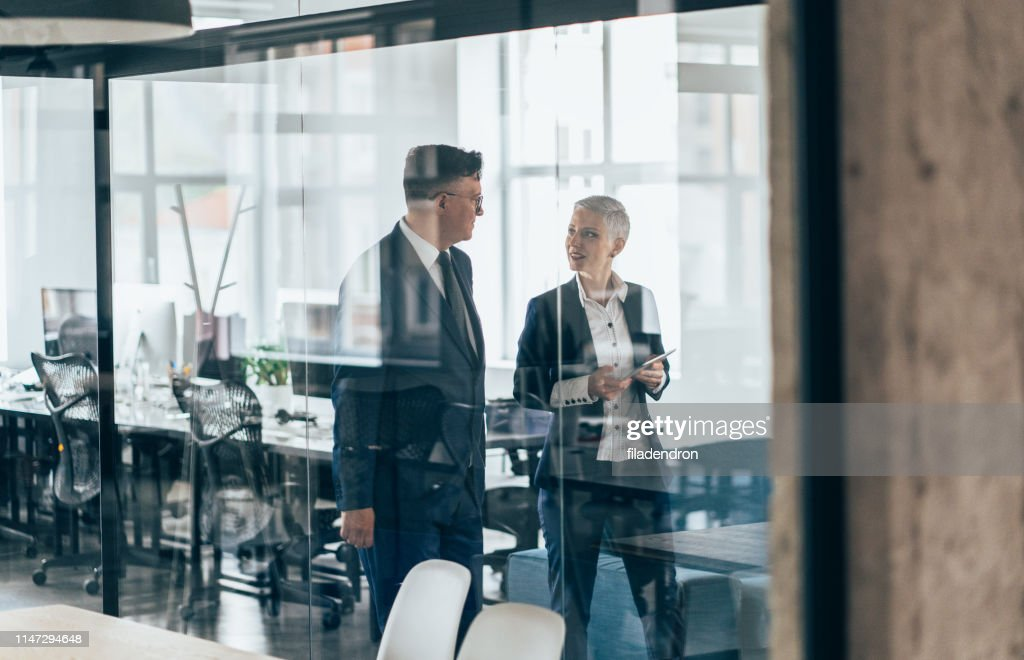 Business partners in discussion : Stock Photo