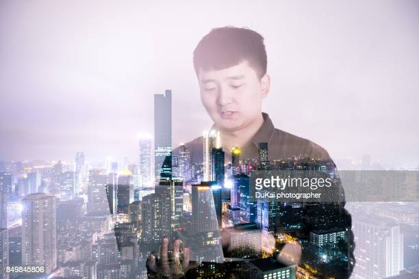 Business people and nanjing landscape multiple