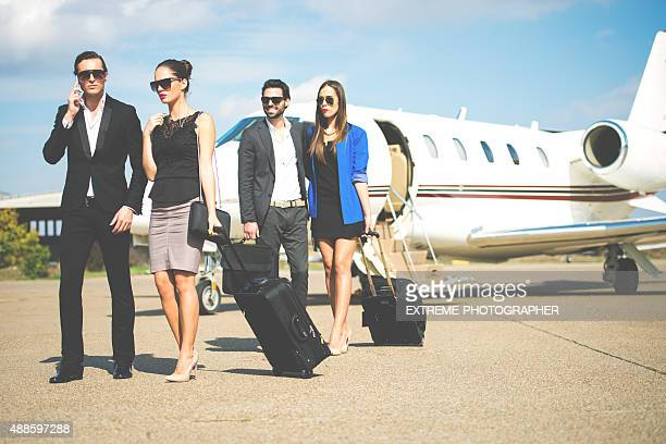 Business people arrived at the airport