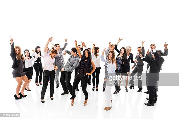 Business people dancing together.