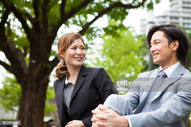 Business People Dating in the Park