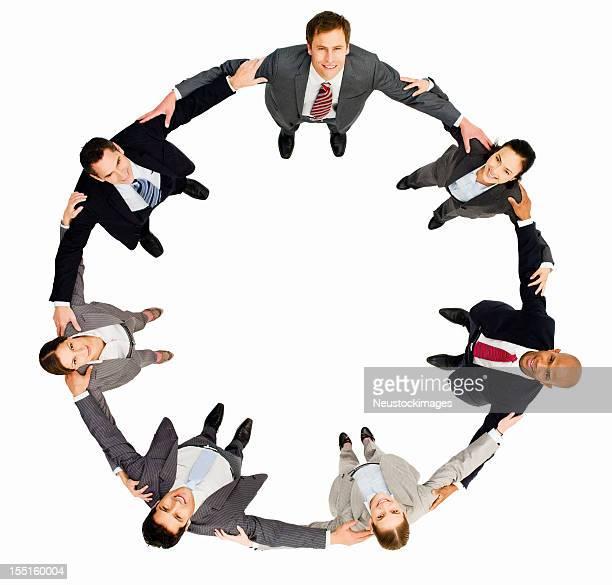 Business People Embracing in a Circle - Isolated