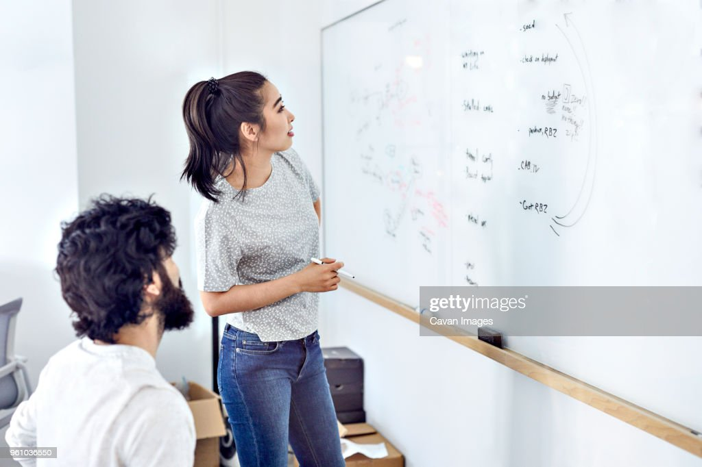 Business People Examining Data On Whiteboard In Creative Office