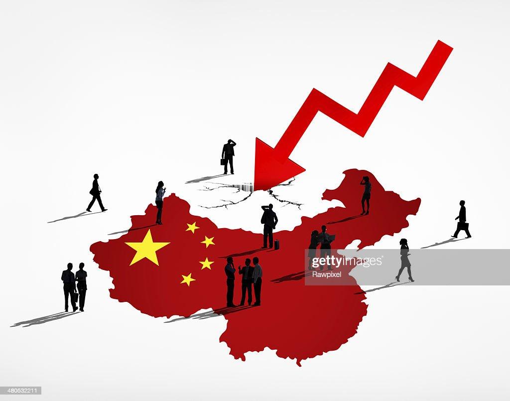 Geschäftsleute mit China Debt Crisis : Stock-Foto