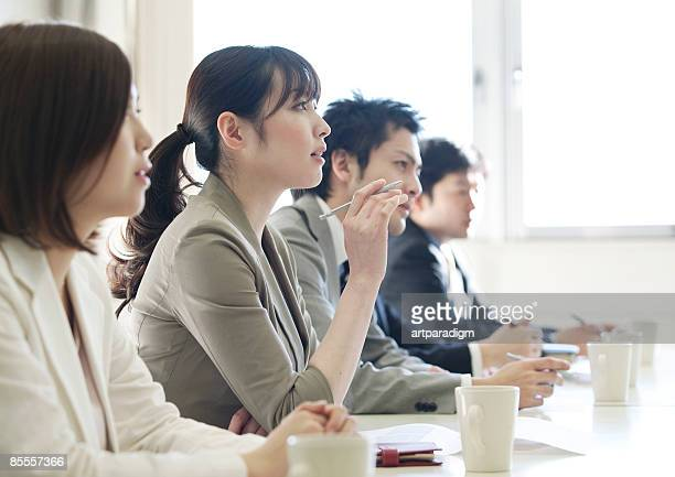 business people have a meeting - only japanese stock pictures, royalty-free photos & images