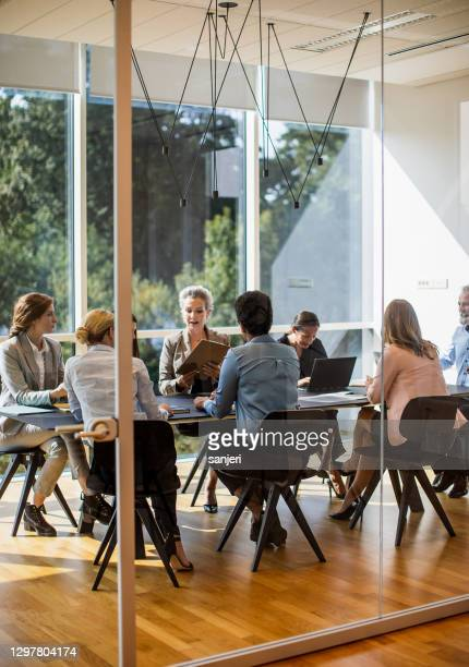 オフィスで会議を開くビジネスの人々 - エグゼクティブディレクター ストックフォトと画像