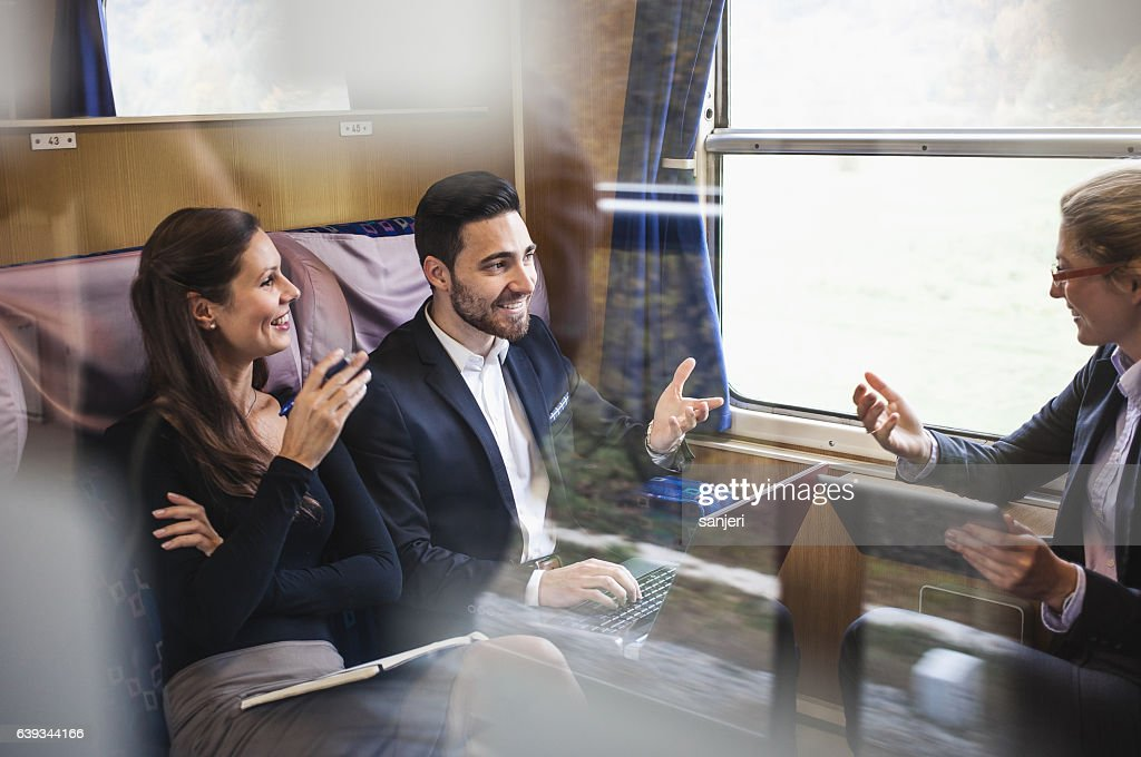 business people having a meeting on a train stock photo getty images