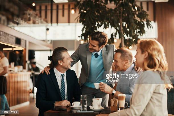 Business people having coffee