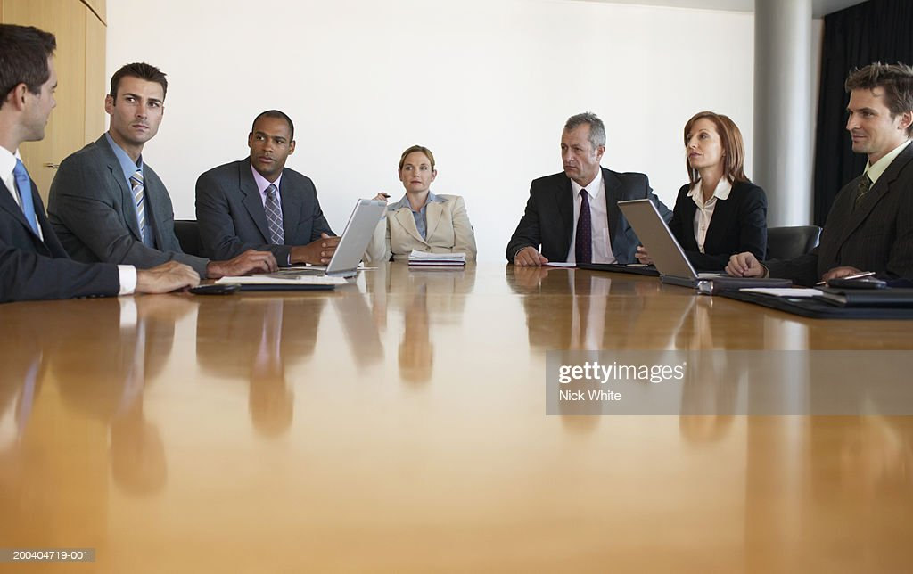 Business People Having Meeting In Conference Room View