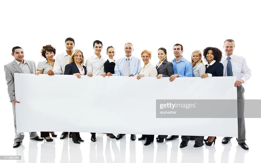 Business Personen halten a Banner. : Stock-Foto