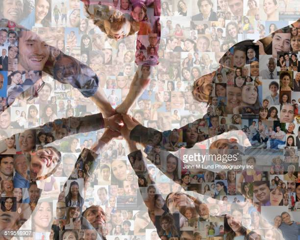 business people holding hands over montage of smiling faces - global village stock pictures, royalty-free photos & images