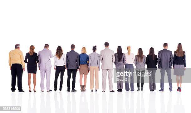 business people in a line. - op de rug gezien stockfoto's en -beelden