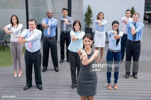 Business people in a work pause at the office