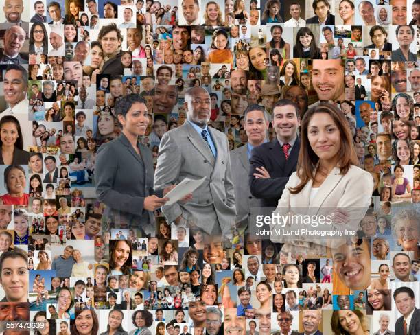 Business people in collage of smiling face