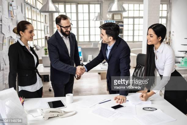Business people in handshake