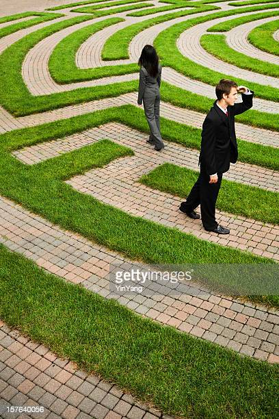 Business People in Maze Finding Path, Solution, Strategy, Job Employment