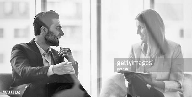 business people in the office building - black and white stock pictures, royalty-free photos & images