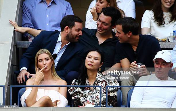 Business people Ivanka Trump Wendi Deng Murdoch and David Geffen attend the Men's Singles Final Match between Novak Djokovic of Serbia and Stan...