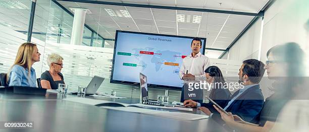 Business people listening to a financial presentation