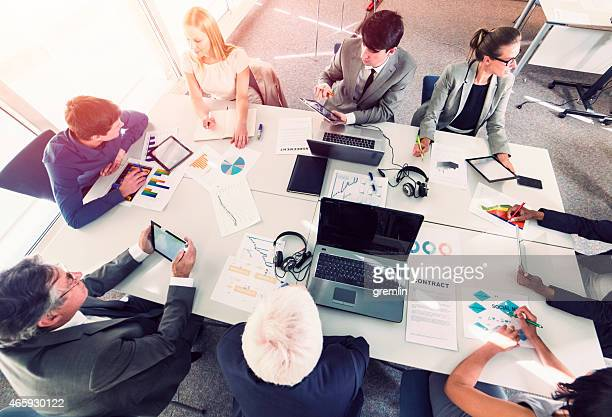 Business people, meeting, desk, group, discussion
