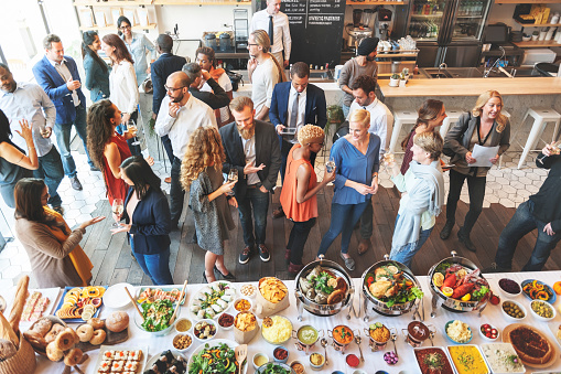 Business People Meeting Eating Discussion Cuisine Party Concept 665393236