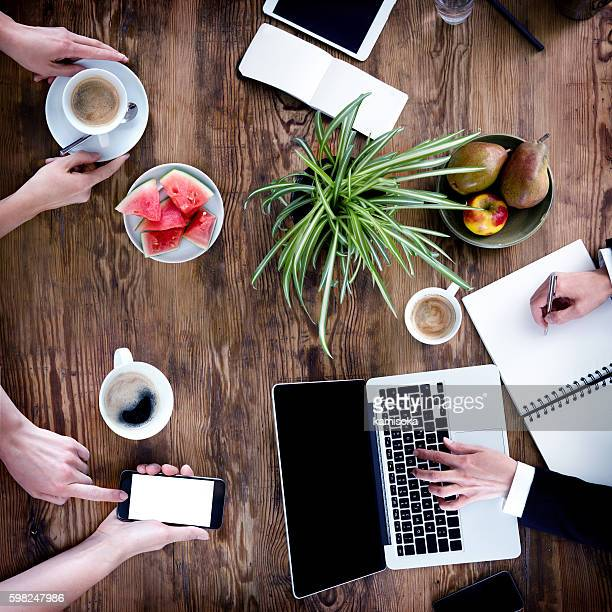 Business People Meeting -Women Hands Using Laptop, Smartphone, Notebook