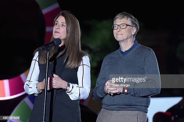 Business people Melinda Gates and Bill Gates speak on stage at the 2015 Global Citizen Festival to end extreme poverty by 2030 in Central Park on...