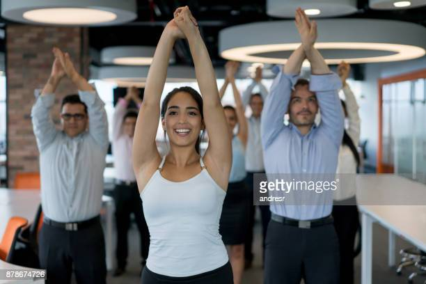 Business people on an active break at the office
