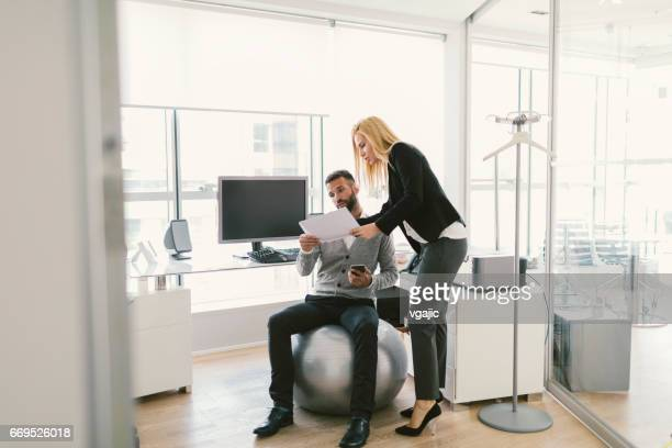 business people on meeting - fitness ball stock pictures, royalty-free photos & images