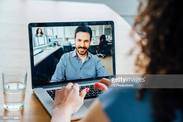 business people on video conference - back to work stock pictures, royalty-free photos & images