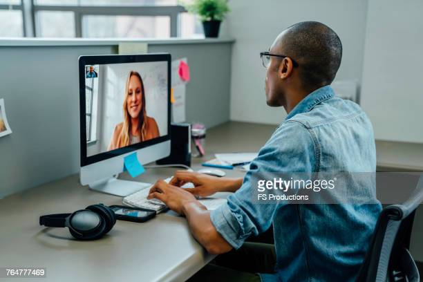 business people on video conference - virtual meeting stock pictures, royalty-free photos & images