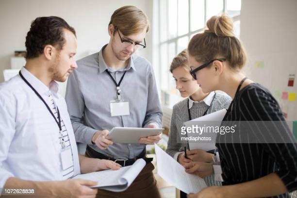 Business people preparing for seminar