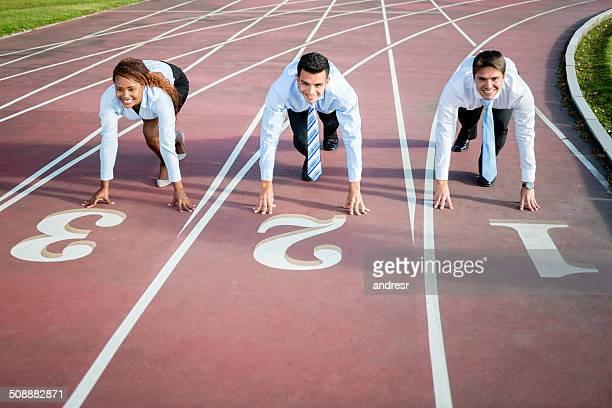 Business people racing