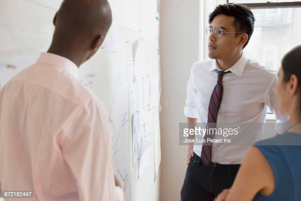 Business people reading paperwork on wall