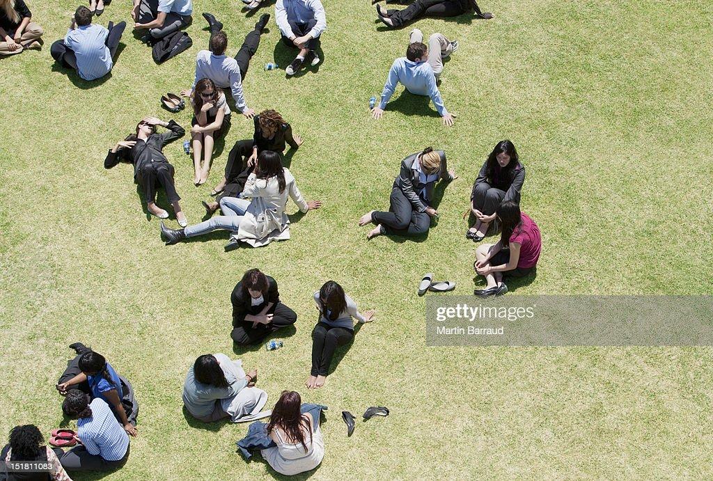 Business people relaxing in sunny field : Bildbanksbilder
