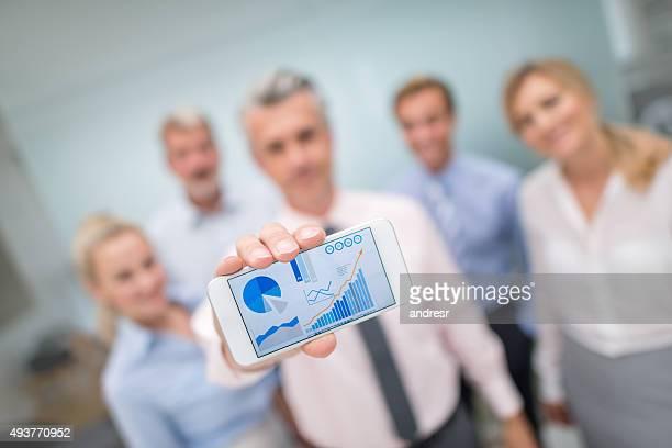 business people showing online growth development - digital marketing foto e immagini stock
