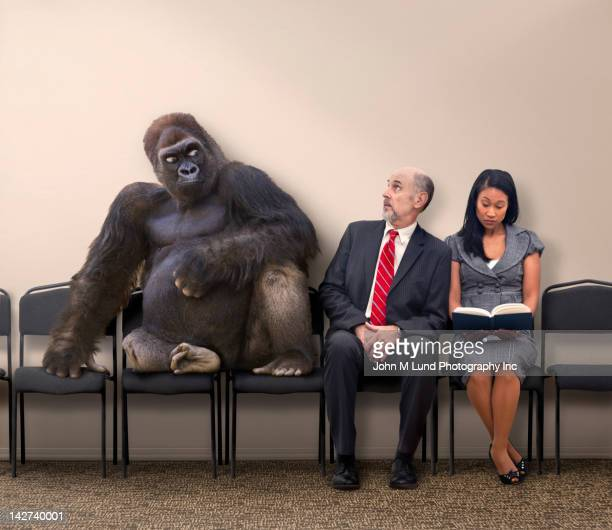 business people sitting next to gorilla - john lund stock pictures, royalty-free photos & images