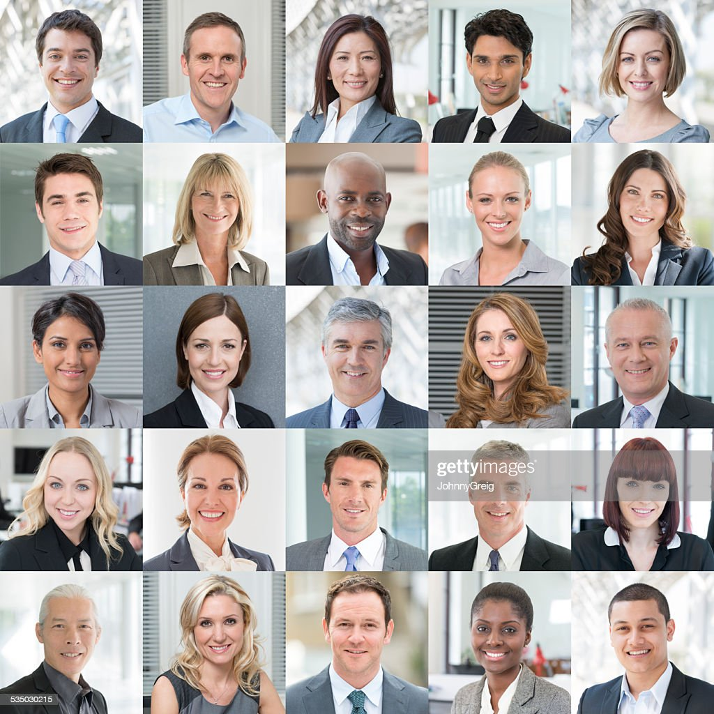 Business People Smiling - Headshot Portraits Collage : Stock Photo