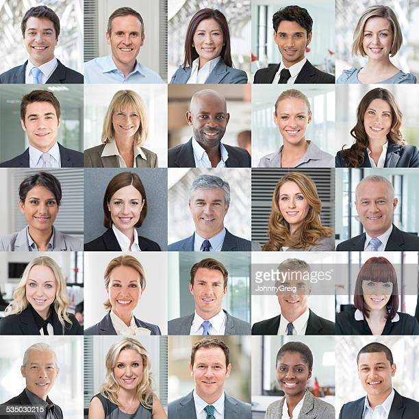 business people smiling - headshot portraits collage - image montage stock pictures, royalty-free photos & images