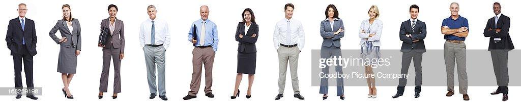 Uomini d'affari in piedi in fila su sfondo bianco : Foto stock