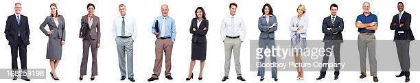 Business people standing in a row on white background