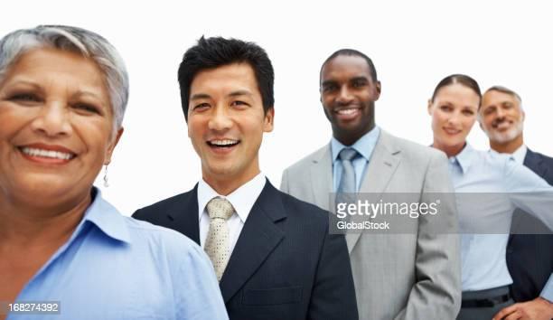 ビジネスの人々に立つ列