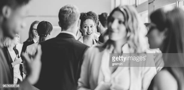 business people standing in the office - black and white stock pictures, royalty-free photos & images